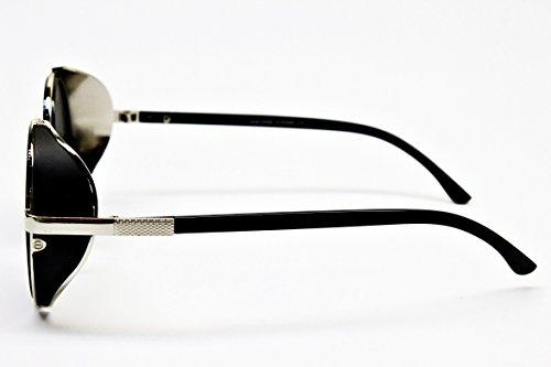 V168-vp Style Vault Steampunk Round Sunglasses (VLD Black/Silver-Dark, uv400)