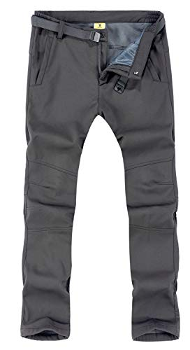 TBMPOY Men's Outdoor Windproof Waterproof Softshell Fleece Snow Pants(01 Thick Grey,us L) (Best Winter Backpacking Pants)