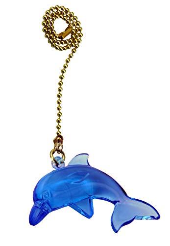 Dolphin Ceiling Fan Pull - Decorative Neon Blue Dolphin Ceiling Fan Pull with Beaded Chain - FA145 for Kids room, Nursery, Bedroom