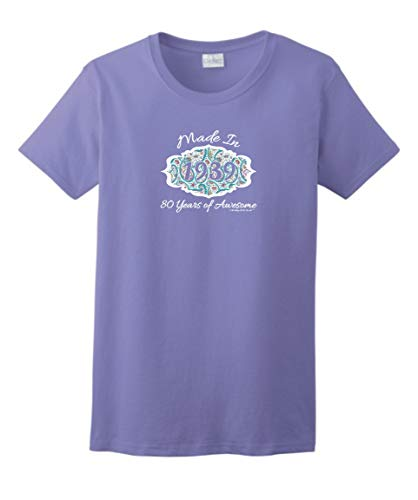 - 80th Birthday Gifts for Mom 80th Birthday Gift Made 1939 Paisley Crest Ladies T-Shirt XL Violet