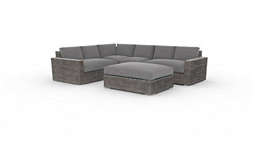 Toja Turo Outdoor Patio Sectional Set (5 pcs) | Wicker Rattan Body with Sunbrella Cushions (Full Round Wicker/Cast Slate)