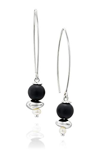 925 Sterling Silver Black Onyx & Cultured Pearls Long Wire Threader Earrings Unique Women's Jewelry