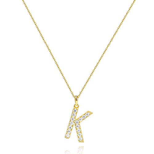 Tarsus K Initial Letter 14K Gold Plated Alphabet Pendant Necklace Monogram Charm Cubic Zirconia Jewelry Gifts for Women Girlf