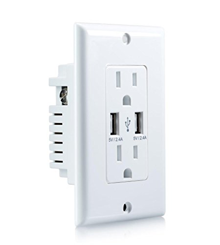 ORA 4.8 Amp High Speed USB Charger Outlet, USB Wall Charger, Electrical Outlet with USB, 15A Receptacle (1 Pack) by ORA