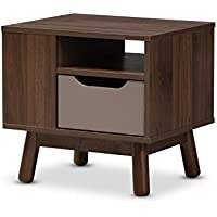 Baxton Studio Gillian Mid-Century Modern Walnut Brown and Grey Two-Tone Finished Wood Nightstand