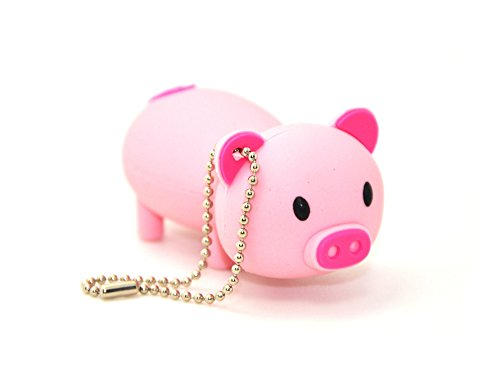 FEBNISCTE Cartoon Pink Pig 8GB USB 2.0 Flash Drive Memory Stick 25 Retractable Pens