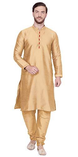 SKAVIJ Men's Art Silk Kurta Pajama Set Indian Traditional Dress (Large, Brown) ()