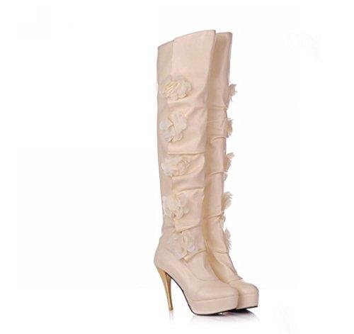 suela otoño de de sobre PU mujer flor rodilla invierno casual Botas Zapatos Beige tela 4U® estilo Best altas la goma YTR4qnW