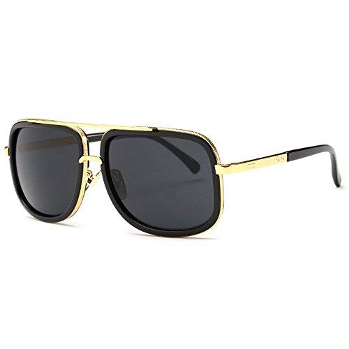 TIJN Men Retro Fashion Square Flat Top Wayfarer Aviator Sunglasses - Top Flat Wayfarer
