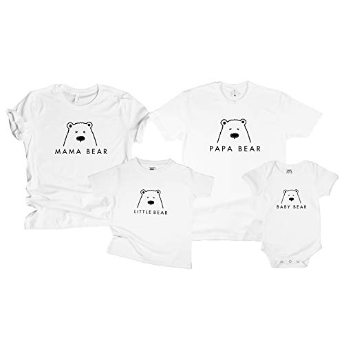 - The Spunky Stork Family Bear Matching T Shirt - Mama Papa Bear Little Baby (Each Sold Separately!) (Baby 0-3M, White)