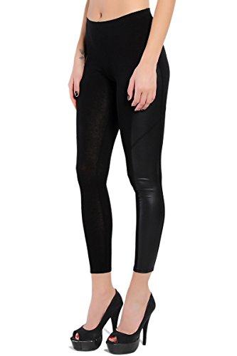 Themogan Women'S Biker Faux Leather Panel Jersey Leggings-Black ()