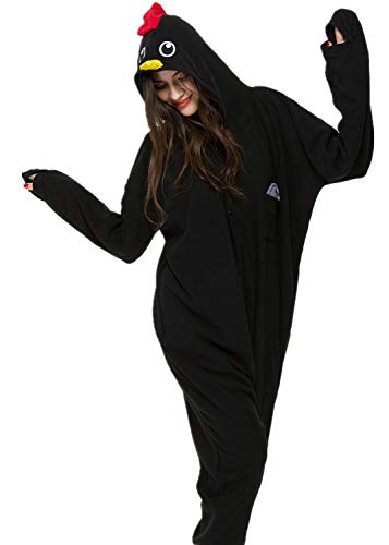Unisex Animal Halloween Black Chicken One-Piece Pyjamas Jumpsuit Cosplay Costumes Adult Womens Men -