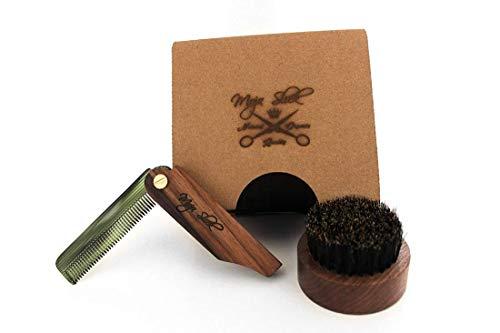 Mojo Slick Deluxe Beard Brush & Comb Set in Black Walnut