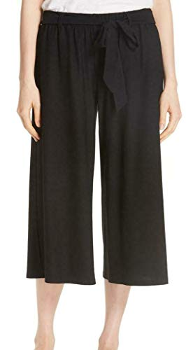Eileen Fisher Black Wide Leg Cropped Knit Belted Pants Size Large from Eileen Fisher