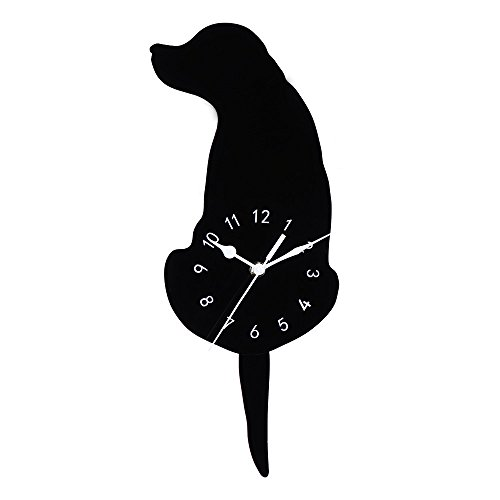 Wall Clock, Creative Acrylic Decorative Dog Wall Clock with Wagging Swinging Tails Pendulum, Battery Powered (not Included) For Bedroom, Living Room, Kitchen, Home Decors - Move Silence (A) -