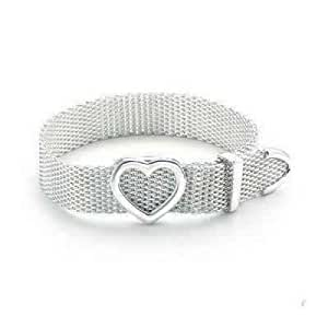 Tiffany And Co Bracelet Mesh Bangle With Heart Silver 157