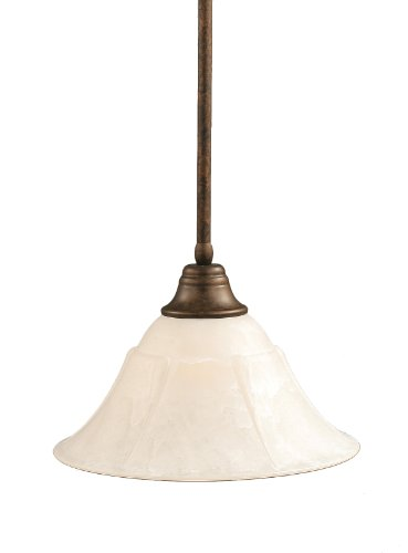 Marble Shade Glass (Toltec Lighting 26-BRZ-53315 Stem Pendant Light Bronze Finish with White Marble Glass Shade, 14-Inch)