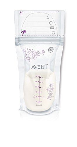 Philips Avent SCF603/25 – Pack de 25 bolsas para almacenaje de leche materna, 180 ml, color blanco