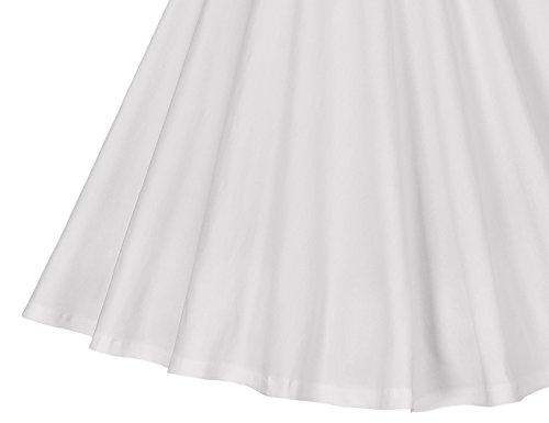 MUXXN Women's 1950s Retro Vintage Cap Sleeve Party Swing Dress(2XL,White)