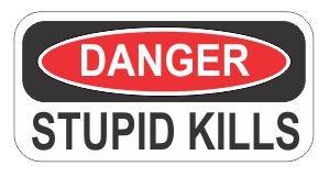 ( 3 )危険Stupid Kills Funnyハード帽子/ヘルメットステッカー B00OD3LXMY