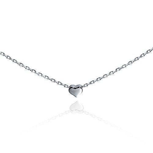 S.Leaf Tiny Heart Necklace Sterling Silver Delicate Love Heart Collar Necklace Dainty Necklace (silver)