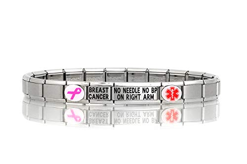 Dolceoro Breast Cancer NO Needle NO BP ON Right ARM Medical Alert Bracelet - Stainless Steel Stretchable Modular Charm Links Breast Cancer Fashion Bracelet