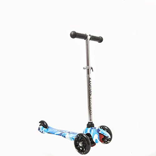 Deluxe 3 Wheel MINI Scooter - Perfect for 2-5 Year Olds. New BLUE CAMOUFLAGE Design with Adjustable Handlebars and Light Up Wheels.