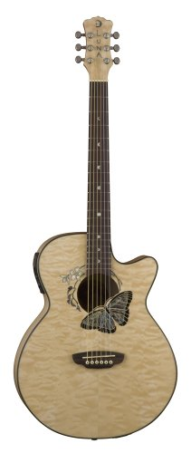 Luna Fauna Series Butterfly Cutaway Acoustic-Electric Guitar - Natural