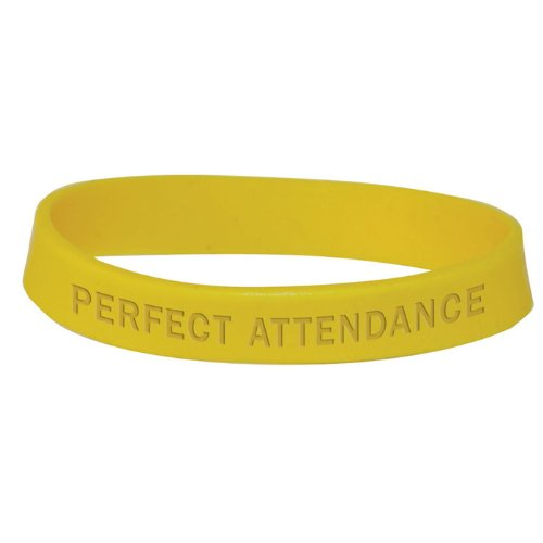Set of 100 Wristbands - Perfect Attendance (Yellow) by Jones School Supply Co., Inc.