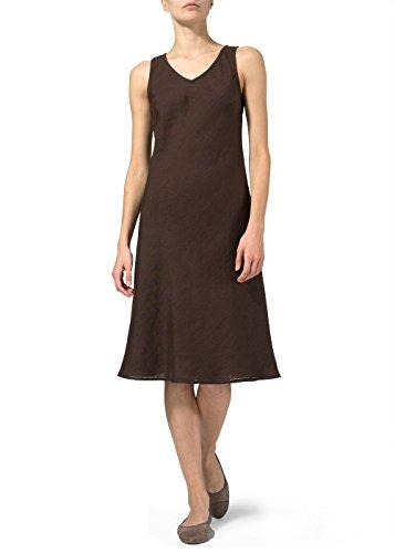 Vivid Linen Bias Cut Sleeveless Short Dress-M-Dark Brown