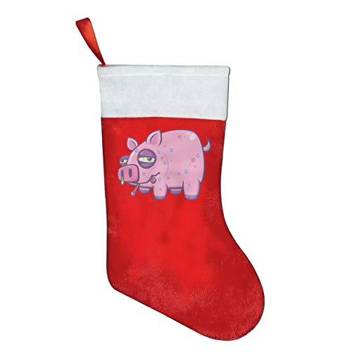 NGFF Cartoon Swine Flu Pig Classic Christmas Stocking, Holiday Hanging Socks Ornaments Decorations Santa Party Accessory Kids Gift/Treat Bags ()