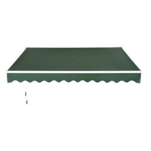 Outsunny 10'X8' Manual Retractable Patio Sun Shade Awning - Green