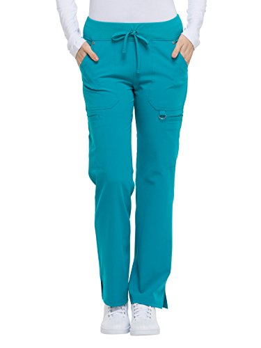 Dickies Women's Size Mid Rise Rib Knit Waistband Pant, Teal Large Tall