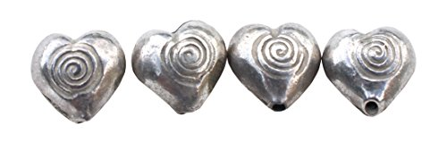 Full Funk Ethnic Thai Karen 97% Silver Bead - Swirl Heart - 5 piece