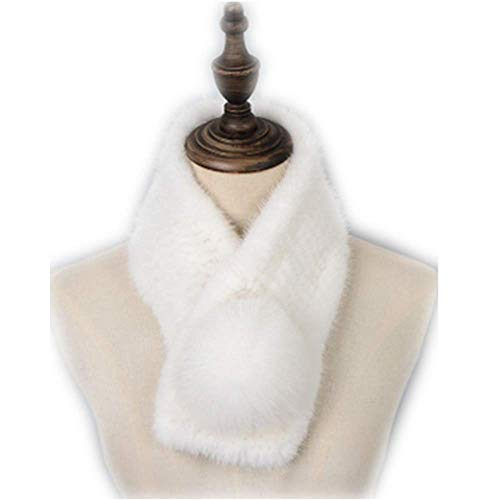 MH Bailment New Genuine Weaving mink fur scarf mink fur ball (65cm13cm, White)