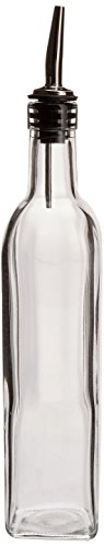 Price comparison product image 16 Oz. (Ounce) Oil Vinegar Cruet, Square Tall Glass Bottle w/Stainless Steel Pourer Spout