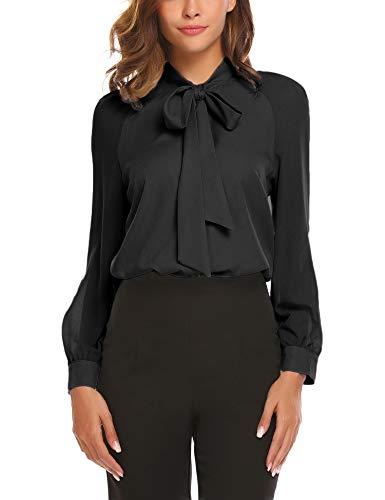 - ACEVOG Women Bow Tie Neck Long Sleeve Patchwork Casual Button Down Shirt,2black,Large