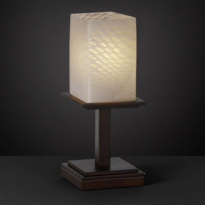 Ribbon Glass Shade (Justice Design FSN-8698-15-RBON-NCKL Montana One Light Table Lamp (Short), Glass Options: RBON: Ribbon Glass Shade, Choose Finish: Brushed Nickel Finish, Choose Lamping Option: Standard Lamping)