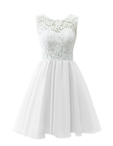 (Snowskite Women's Short Tulle Lace Homecoming Prom Dress White 6)