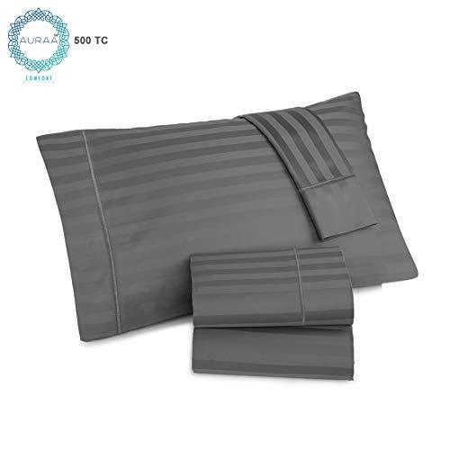 (AURAA Comfort 500 Thread Count 100% American Supima Long Staple Cotton Sheet Set,4 Pc Set,Sateen Weave,Damask Stripe Sheet, Amazon, Fits Upto 16