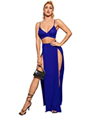 SheIn Women's Two Piece Sexy Bralette Top and High Split Front Maxi Skirt Set