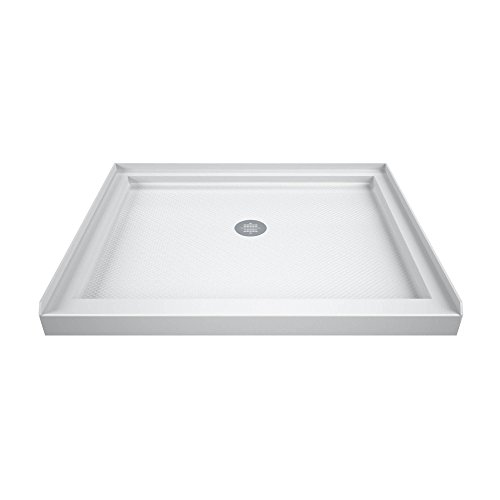 (DreamLine SlimLine 32 in. D x 32 in. W x 2 3/4 in. H Center Drain Single Threshold Shower Base in White)