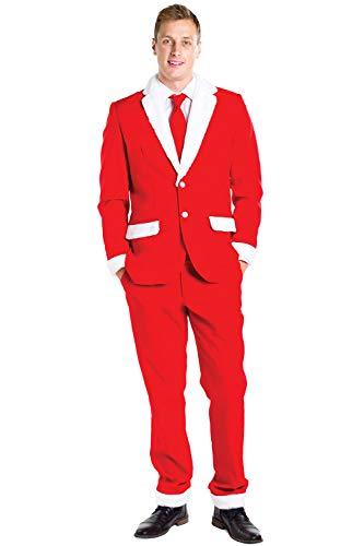 Tipsy Elves Men's Santa Claus Suit - Red and White Santa Christmas Suit: 46J/36P -