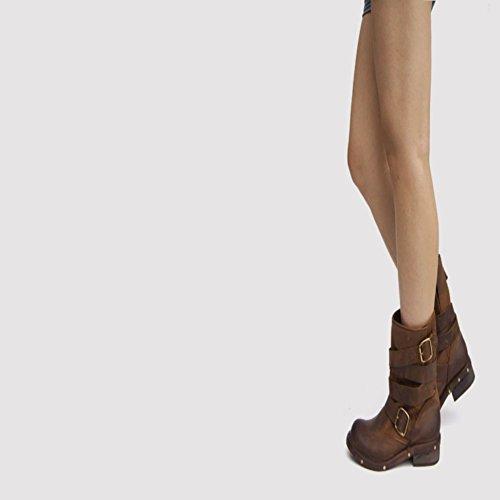 Jinfu Hebillas De Cuero Para Mujeres Con Tacón Cuadrado Block Heel Knight Botas De Media Pantorrilla Rivet Riding Zapatos (us 8)