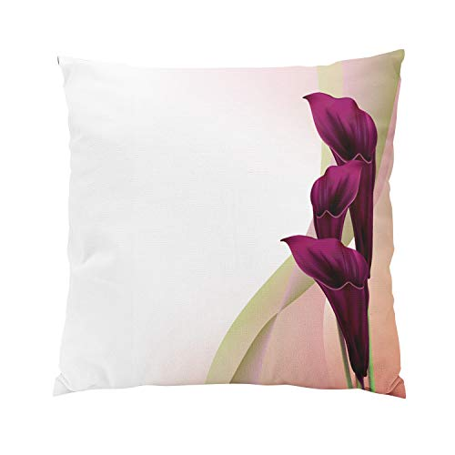 Calla Bordered Lilies (Suike Black Calla Lily Plush Hidden Zipper Home Sofa Decorative Throw Pillow Cover Cushion Case Square 20x20 Inch Two Sides Design Printed Pillowcase)