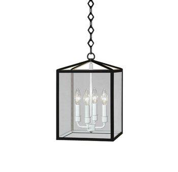 Robert Abbey BL225 Foyer/Hall Lanterns with Clear Acrylic Shades, Matte Black Powder Coat/Semi-Floss White Finish