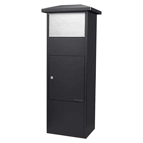 Winbest Steel Freestanding Floor Lockable Large Drop Slot Mail Box with Parcel Compartment, Black by winbest