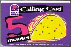 Collectible Phone Card  5M Taco Bell Restaurant Promo Calling Card 1994  Paper