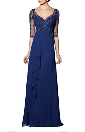 Emmani Women's Sheath Applique Illusion Sleeve Evening Dresses Mother Dresses Blue 22w