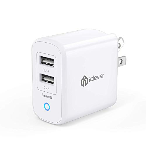 iClever USB充電器 2ポート急速充電 4.8A 24W 折たたみ式プラグ搭載 海外対応iPhone/iPad/MacBook/Android PSE認証済 IC-WB22W